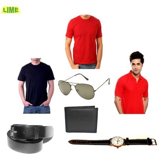 Set Of 1 Black & 2 Red T-Shirts With Free Sunglass Leather Belt Watch & Wallet