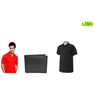 Black & Red Polo T-Shirt With Free Wallet