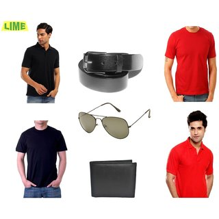 Set Of 2 Black & Red T-Shirts With Free Belt Sunglass & Wallet (Option 2)