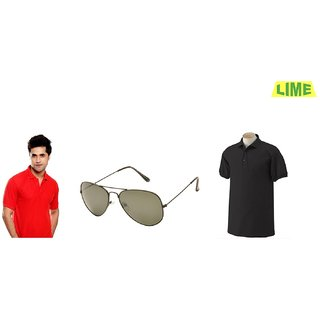 Black & Red Polo T-Shirt With Free Sunglass
