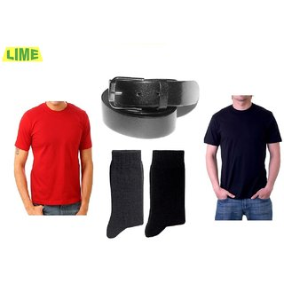Combo Of Black & Red Round T-Shirt With Genune Leather Belt & 2 Pair Of Socks
