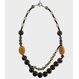 "Pearlz Ocean Aventurine, Citrin, Black Agate And Smoky Quartz 18"" Bib  Beads Nec"