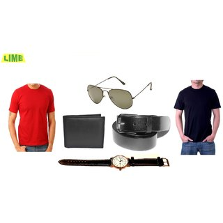 Black & Red Round T-Shirt With Free Sunglass Belt Wallet & Stylish Watch