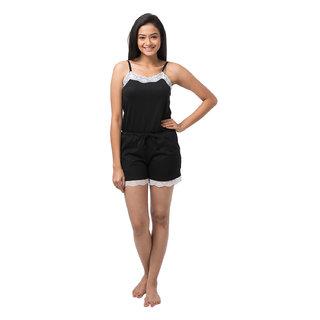 Nite Flite Black Cotton Solid/Plain Jumpsuits (27003)
