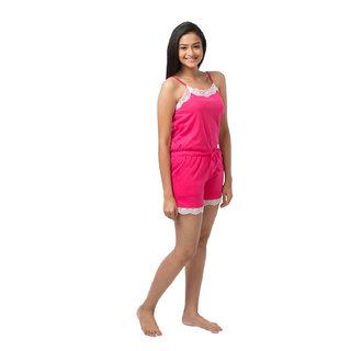 Nite Flite Pink Cotton Solid/Plain Jumpsuits (27004)