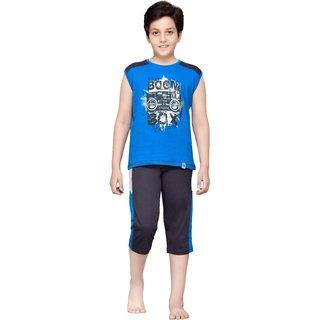 Punkster Blue T-shirt Grey Three-forth Set For Boys