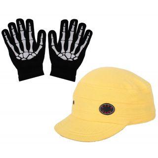 sushito  Fresh  Yellow Wrinkle Less Golf Cap With Hand Gloves JSMFHCP1219-JSMFHHG0037