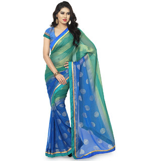 Sareemall Blue  Green Chiffon Brasso Printed Saree With Unstitched Blouse BSB849410