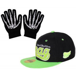 sushito Black Green SWAG HIP HOP Cap With Hand Gloves JSMFHCP1211-JSMFHHG0037