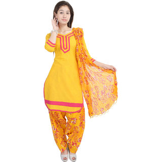 Nisba Fashion SOlid Yellow Cotton Patiala Suit