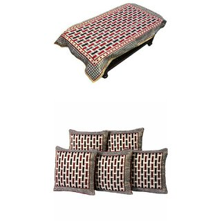 Gurukripa Polycotton Combo of Table Cover With 5 Cushion Cover