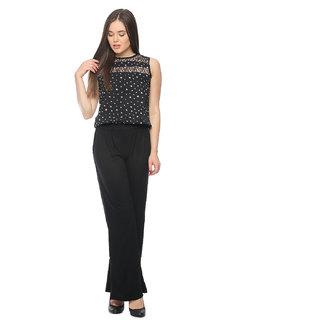 Vvoguish Black Poly Crepe Printed Jumpsuits