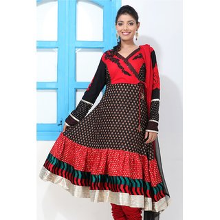 Red & Blue and White Angrakha Suit