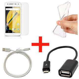 Motorola Moto E2 Tempered Glass With Transparent Back Cover + OTG Cable + Micro USB Cable (Pack Of 4)