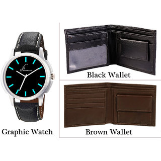 Combo of Brown Black Color Wallet And Graphic Watch