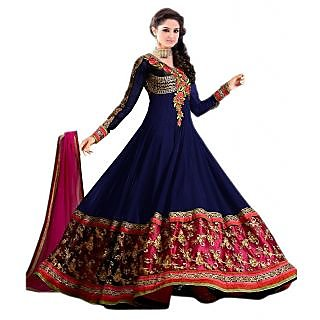 Aagaman Admirable Blue Colored Embroidered Faux Georgette Salwar Kameez