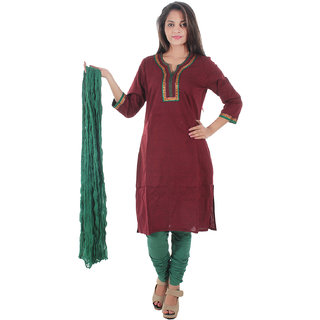 Beautiful Cotton Solid Maroon Color straight Kurti with duptta from the House of Aprique Fab