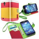 Rka Samsung Galaxy S4 I9500 Leather Flip Designer Stripe Wallet Case Cover Pouch Table Talk New Yellow