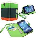 Rka Samsung Galaxy S4 I9500 Leather Flip Designer Stripe Wallet Case Cover Pouch Table Talk New Green