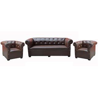 Tezerac -Parquet 3+1+1 Sofa Set - Dark Brown