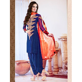 Thankar New Designer Blue  Orange Heavy Straight Suit