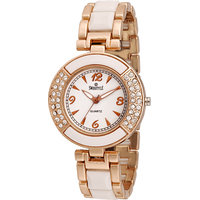 Swis Style Lr1158 White Dial Leather Strap Analog Watch For Women