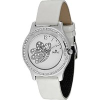 Swis Style Lr2001 White Dial Leather Strap Analog Watch For Women