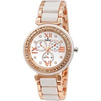 Swis Style Lr703 White Dial Metal Chain Analog Watch For Women