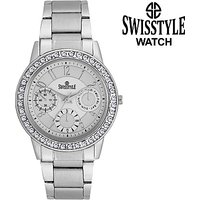 Swis Style Lr020 White Dial Metal Chain Analog Watch For Women