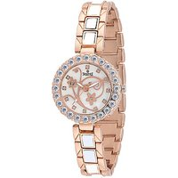Swis Style Lr1504 White Dial Metal Chain Analog Watch For Women