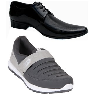 Smithsoul Grey Sports Shoes Combo with Black Formal Shoe