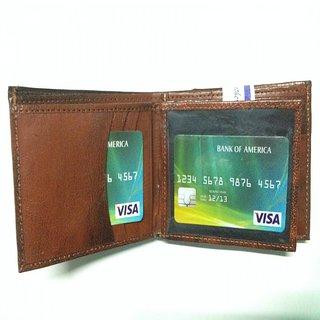 Soft Leather Men Wallet, Bi-fold design wallet Color - Antique Brown
