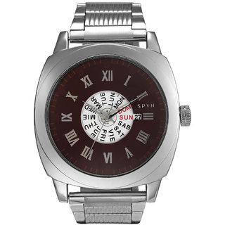 Spyn Full Day Date Display Steel Belt Casual Wrist Watch for men Mens Watch-SS0007Brown