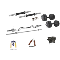 RMC RUBBER HOME GYM SET BISECPS AND TRICEPS SET (16 Kg Rubber Plates +1 Pair Dumbel Rod + Free Gloves +free Skiping Rope + 1 Pc Hand Grip + 3 FT EZ CURL BAR + 5ft BAR + Locks)