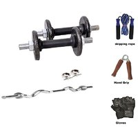 RMC  Cast Iron HOME GYM SET (15 Kg Cast Iron Plates +1 Pair Dumbel Rod + Free Gloves +free Skiping Rope + 3ft Ez Curl BAR + Locks)