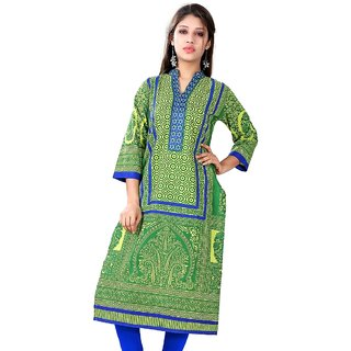 VALAS Womens Cotton Printed Pear Green Long Kurti