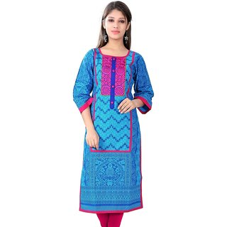 VALAS Womens Cotton Printed Sappire Blue Long Kurti