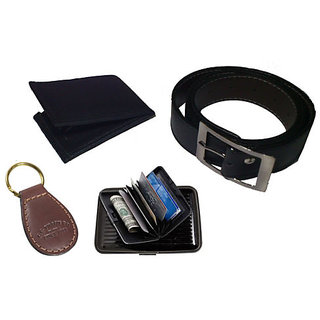 Combo Mens Executive PU Leather Wallet Belt Key Ring Chain Credit Card Holder