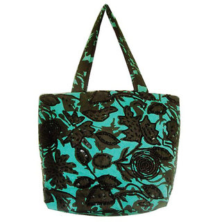 Stylish Green Canvas With Flocking Tote Bag