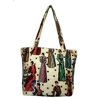 Stylish Multi Color Poly Cotton Tote Bag - Option 1