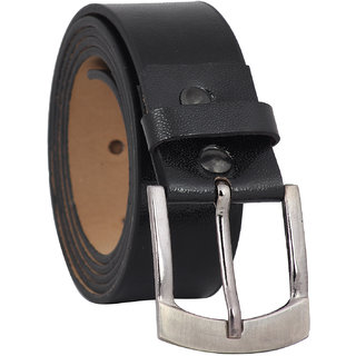 Fashno Mens Formal Leatherite Black Belt (Length-48 inch and Width-1.5 inch)