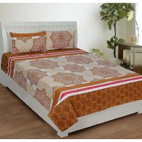 Home Castle 154-TC Cotton Premium Double Bedsheet With 2 Pillow Covers