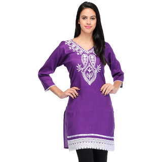 Visach WomenS Rayon 3/4Th Sleeves Solid Purple Kurti-M