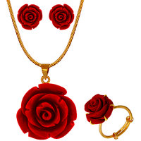 Nisa Pearls Red Coloured Gold Plated Necklace (Design 3)