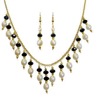 Nisa Pearls Black Coloured Silver Plated Necklace