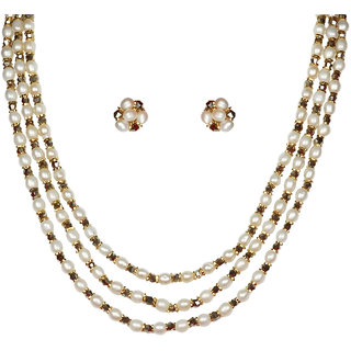 Nisa Pearls White Coloured Gold Plated Necklace (Design 71)