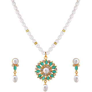 Nisa Pearls White Coloured Gold Plated Necklace (Design 68)