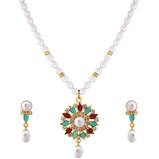 Nisa Pearls White Coloured Gold Plated Necklace (Design 67)