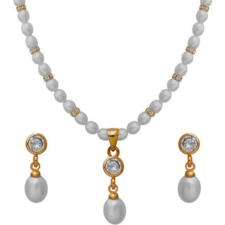 Nisa Pearls White Coloured Gold Plated Necklace (Design 63)