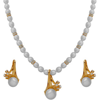 Nisa Pearls White Coloured Gold Plated Necklace (Design 50)